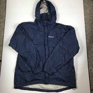 Marmot Rain Jacket Mens Blue Full Zip Hooded sz XL